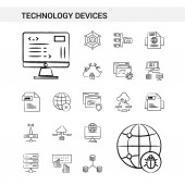 Technology Device hand drawn Icon set style isolated on white background - Vector