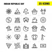 Indian Republic Day Line Icon Pack For Designers And Developers Icons Of Kite Festival Flying India Indian Pot Food Day Vector