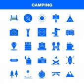 Camping Solid Glyph Icon Pack For Designers And Developers Icons Of Bench Camping Outdoor Travel Camping Match Outdoor Fire Vector