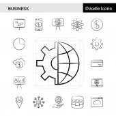 Set of 17 Business hand-drawn icon set