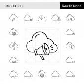 Set of 17 Cloud SEO hand-drawn icon set