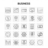 25 Hand Drawn Business icon set Gray Background Vector Doodle