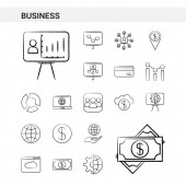Business hand drawn Icon set style isolated on white background - Vector