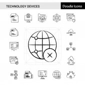 Set of 17 Technology Device hand-drawn icon set