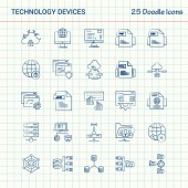 Technology Device 25 Doodle Icons Hand Drawn Business Icon set