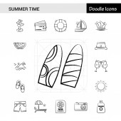 Set of 17 Summer Time hand-drawn icon set