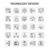 25 Hand Drawn Technology Device icon set Gray Background Vector Doodle