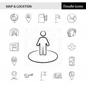 Set of 17 Map and Location hand-drawn icon set