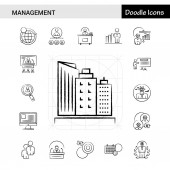 Set of 17 Management hand-drawn icon set