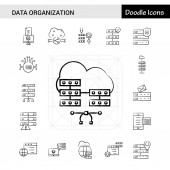 Set of 17 Data Organization hand-drawn icon set
