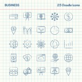 Business 25 Doodle Icons Hand Drawn Business Icon set