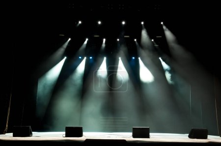 Photo for Free stage with lights, lighting devices as background. - Royalty Free Image