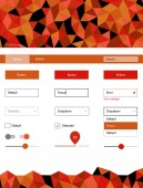 Light Red vector ui ux kit in triangular style Colorful Style guide with triangles on abstract background Beautiful layout for websites landing pages