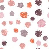 """Постер, картина, фотообои """"Темно оранжевый вектор бесшовные абстрактный фон с цветами, листья. Современная абстрактная иллюстрация с листьями и цветами. Шаблон для дизайн ткани, Обои."""""""