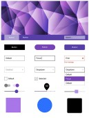 Light Pink Blue vector wireframe kit with crystals Colorful ui/ux kit with header consisted of triangles Beautiful layout for websites landing pages