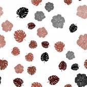 """Постер, картина, фотообои """"Темно-красный вектор бесшовные каракули шаблон с цветами, листьями."""""""