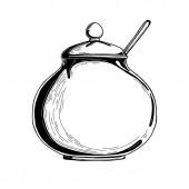 Realistic sketch of the sugar bowl Vector illustration