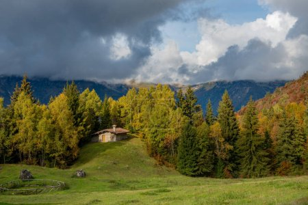 Photo for Cottage in the brembana valley in autumn - Royalty Free Image