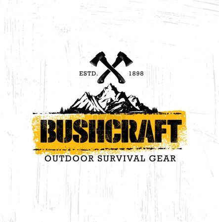 Illustration for Bushcraft Outdoor Adventure Prepper Survival Equipment Vector Banner Design Element. Creative Rough Camping Sign Concept On Distressed Grunge Background - Royalty Free Image