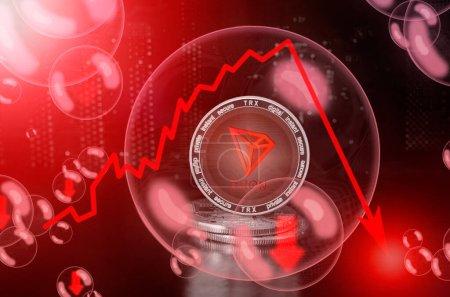 Photo pour Tron TRX pièce dans une bulle de savon. Risques et dangers d'investir dans Tron crypto-monnaie. Effondrement du taux de change. Concept instable. Chute chute chute bulle - image libre de droit