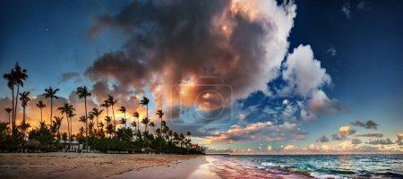 dramatic evening sky over sandy  beach