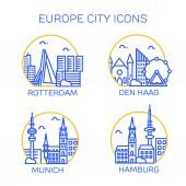 Europe city icons Set of four citys Rotterdam Den Haag Munich Hamburg Vector illustration