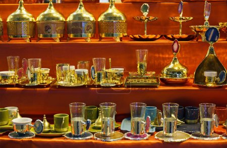 Traditional handmade tea and coffee sets or teapots at the Egyptian Bazaar and the Grand Bazaar in Istanbul, Turkey