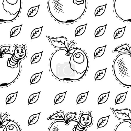 Photo for Seamless pattern in cartoon style. Apples, apple with caterpillar, green leaves - Royalty Free Image