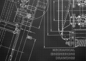 Blueprint Vector engineering illustration Computer aided design systems Instrument-making drawings Mechanical engineering drawing Technical illustrations Black background Points
