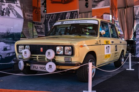 Photo for SEAT 1430 FU Abarth in montjuic spirit Barcelona circuit car show. - Royalty Free Image