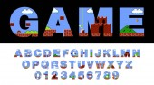Vector of font and alphabet stylized on old video game retro style font