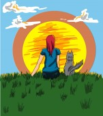 Girl and a dog looking at the sunset Vector Cartoon characters story boards