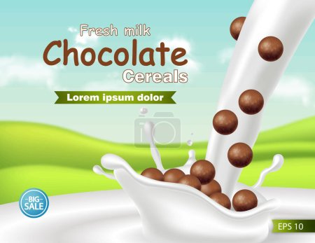 Chocolate cereals in milk splash Vector realistic mock up. Product placement label design. 3d detailed illustrations