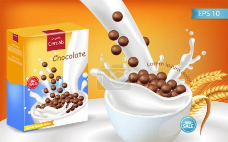Organic Chocolate cereals milk splash Vector realistic mock up. Product placement label design. 3d detailed illustrations