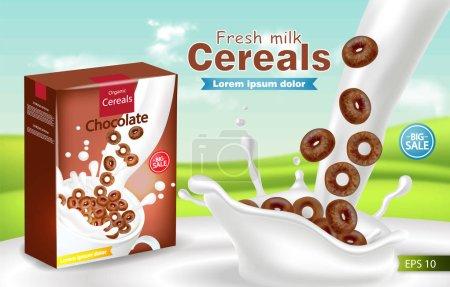 Organic cereals in milk splash Vector realistic mock up. Product placement label design. 3d detailed illustrations