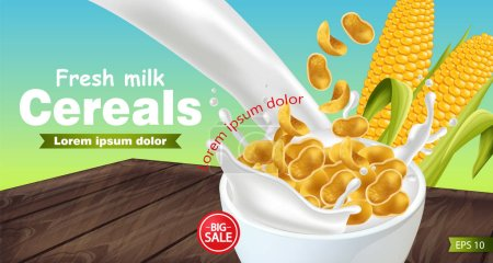 Cornflakes in milk splash Vector realistic mock up. Product placement label design. 3d detailed illustrations