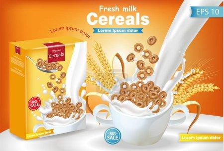 Rye cereals in milk splash Vector realistic mock up. Product placement label design. 3d detailed illustrations