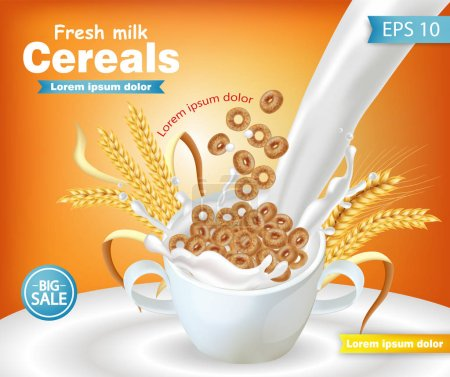 Rye cereals bowl with milk splash Vector realistic mock up. Product placement label design. 3d detailed illustrations