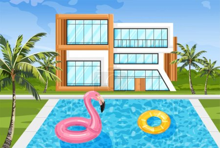 Modern house with swimming pool Vector. Architecture facade summer nature environments