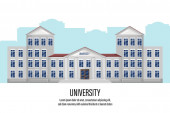 Architectural facade university Vector flat style Building isolated on white front views