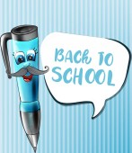 Back to school pen cartoon character Vector Funny face smilling back to school concepts