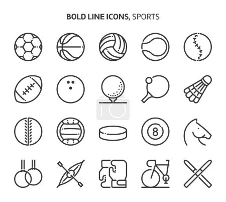 Sports, bold line icons. The illustrations are a vector, editable stroke, 48x48 pixel perfect files. Crafted with precision and eye for quality.