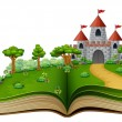 Vector illustration of Story book with a castle in...