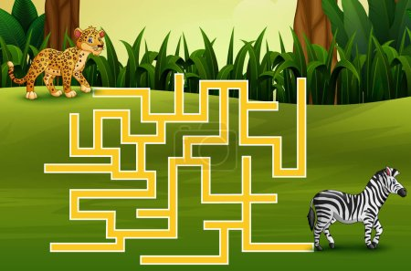Vector illustration of Game leopard maze find thei...