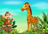 Nature scene with a monkey sitting on tree stump and giraffe