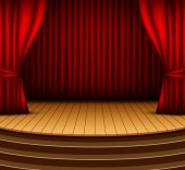Cartoon background stage with red curtains