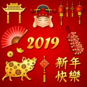 Happy Chinese New Year 2019 set of icon