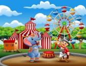 Circus ringmaster performs a trick along with elephant in arena