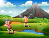 Kids are playing golf in the beautiful nature