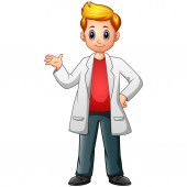 Cartoon scientist boy in lab coats